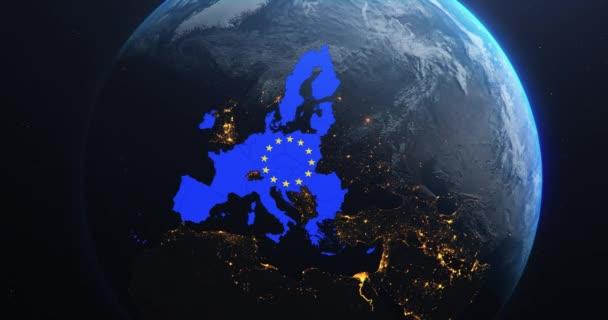 Planeta Země z vesmíru Mapa Evropské unie Vlajka EU, 2020 politické hranice po brexitu, 3D ilustrace, prvky tohoto snímku se svolením NASA