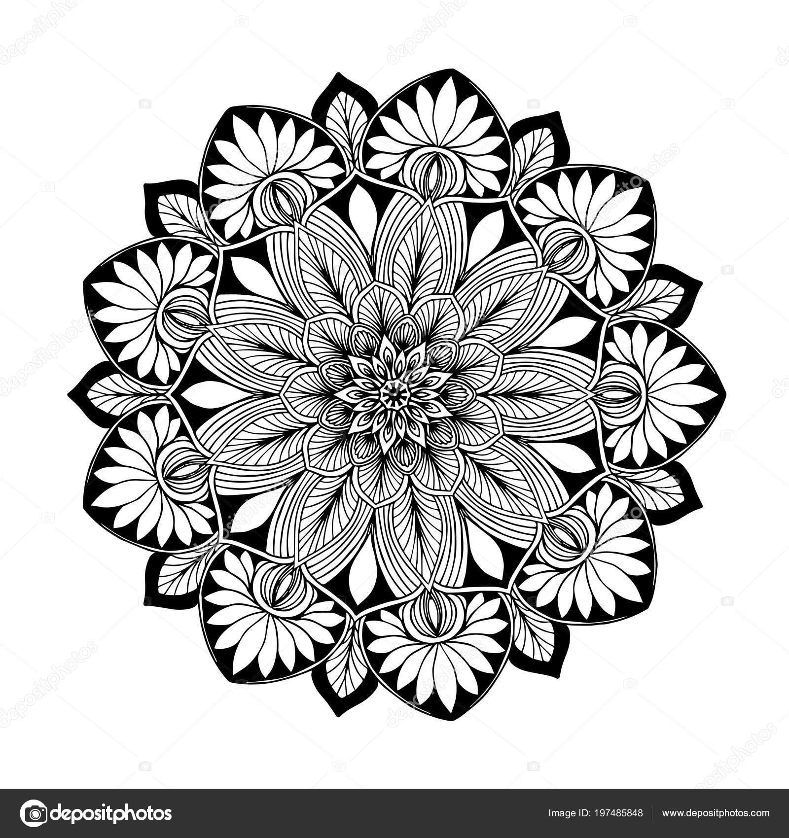 Mandalas Pour Cahier Coloriage Ornements Decoratifs Rondes Forme