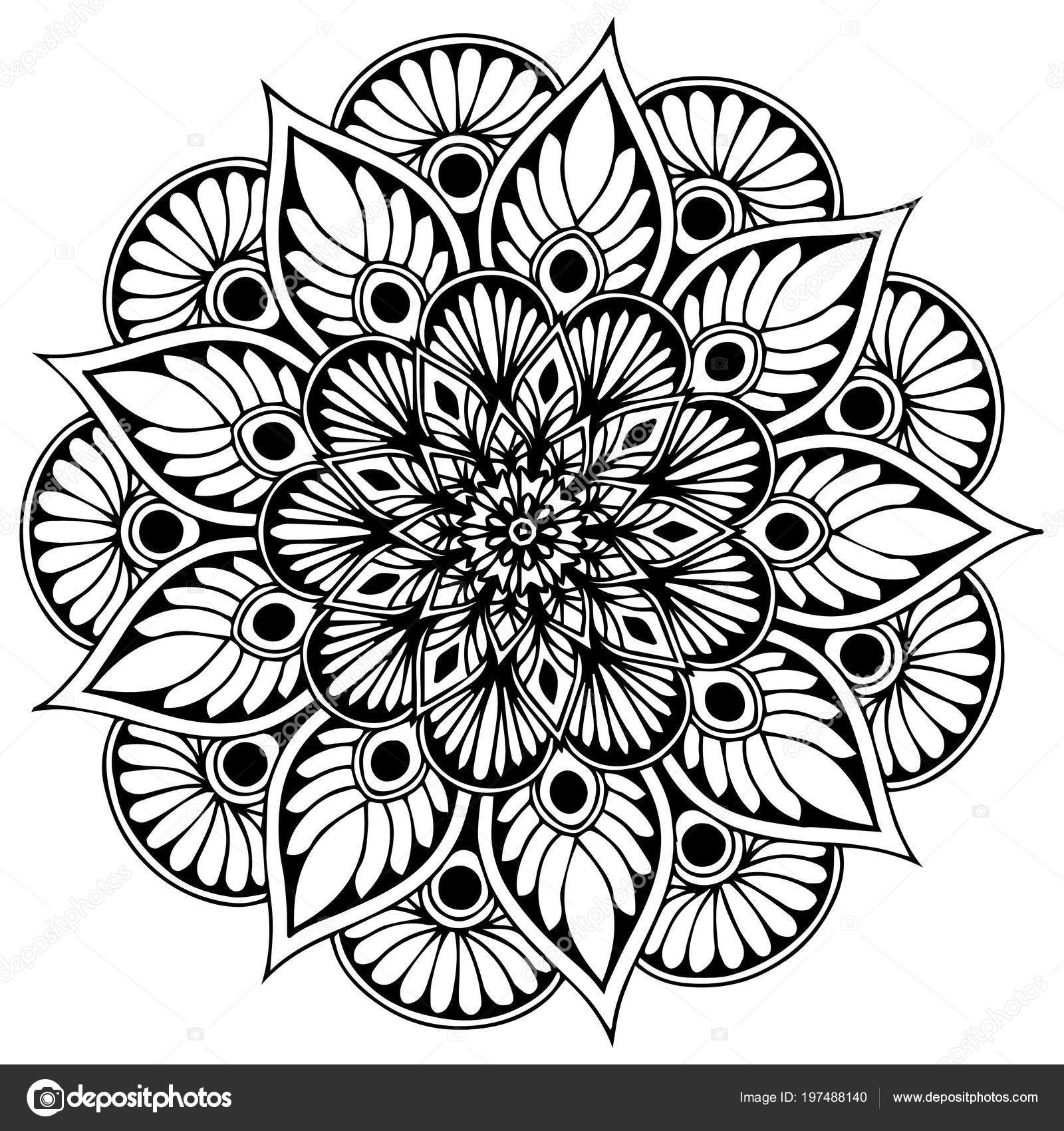 Mandalas Coloring Book Decorative Ornaments Unusual Flower Shape ...