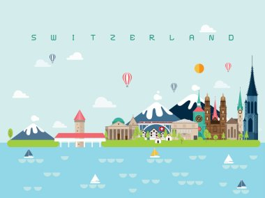 Switzerland Famous Landmarks Infographic Templates for Traveling Minimal Style and Icon, Symbol Set Vector Illustration Can be use for Poster Travel book, Postcard, Billboard