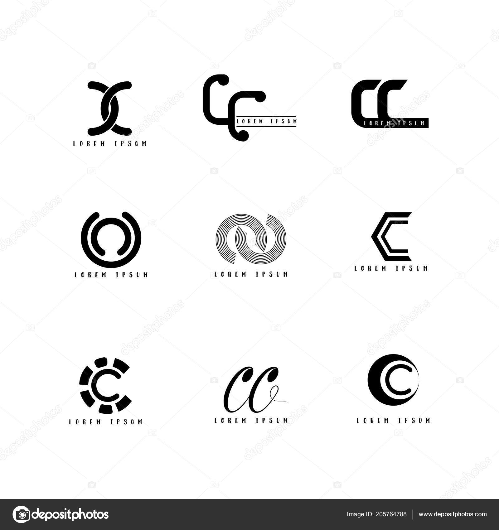 logo vector design letter creative font set vetores de stock
