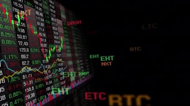 Stůl a sloupcový graf kryptoměn burzy tržní indexy animace 4k videa. Graf kurzu abstraktní měny animovaný pozadí..