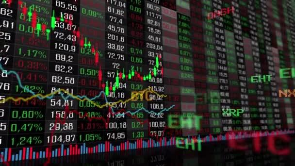 Stůl a sloupcový graf kryptoměn burzy na trhu index animace 4k videa. Graf kurzu abstraktní měny animované pozadí.