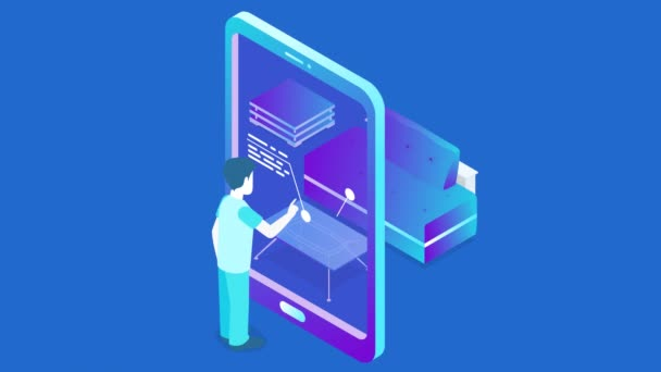 Augmented Virtual Reality marketing technology isometric flat seamless looping animated concept video with alpha. Man touching touch screen on tablet to get information about furniture.