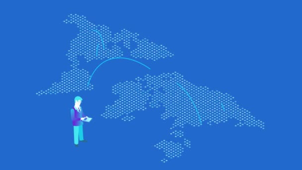 E-commerce Global Payment isometric flat seamless looping animated concept. Businessman  tap pay button on tablet to make payment with world map on background video with alpha.