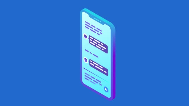 Chat messages text is written on screen of smartphone animation video with alpha. Online Communication isometric flat seamless looping animated concept.