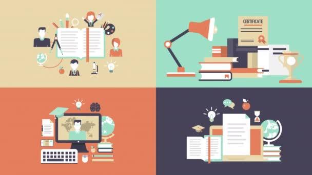 Vzdělání, znalosti je moc, vzdálenost učitele, e-learning animovaný plochý koncepce. Certifikace, promoce animace ikony