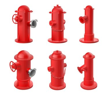 Vector set of red fire hydrants isolated on white background. Realistic 3d objects for city fire fighting department. icon