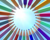 Plná barva tužka barva uspořádat kolem mají nebe na pozadí s 3D vykreslování.