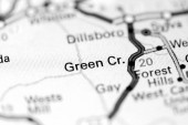 Green Cr. Severní Karolína. USA na mapě