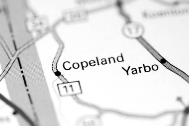Copeland. Alabama. USA on a map
