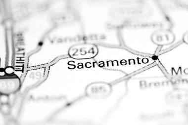 Sacramento. Kentucky. USA on a geography map
