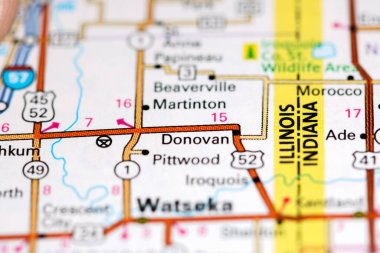 Donovan. Illinois. USA on a map