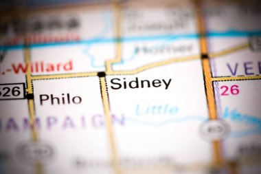 Sidney. Illinois. USA on a geography map