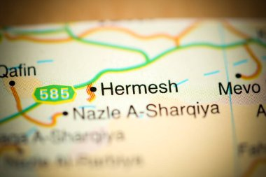 Hermesh on a geographical map of Israel
