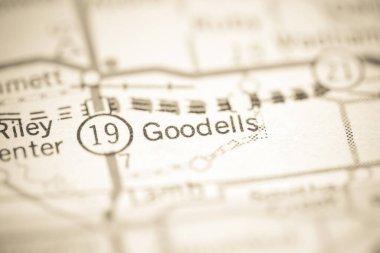Goodells. Michigan. USA on a geography map.