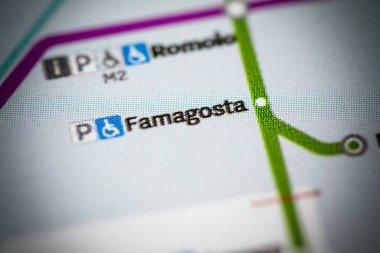 Famagosta Station. Milan Metro map.
