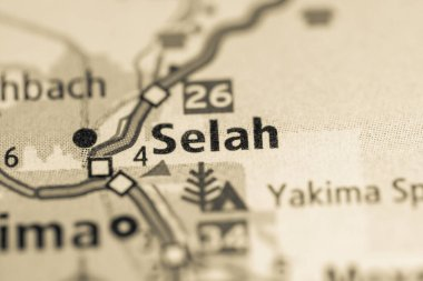 Selah. Washington. USA on the geographical map