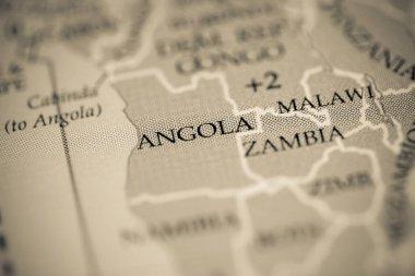 Angola map view close up