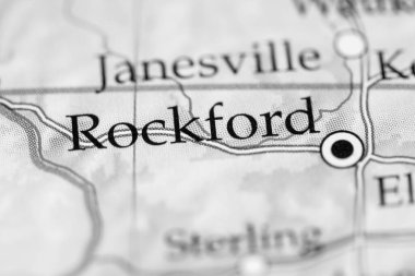 Rockford, USA on the geography map