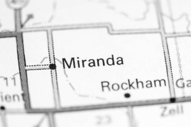 Miranda. South Dakota. USA on a map.
