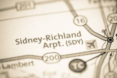 Sidney-Richland Airport SDY. Montana. USA on a map.