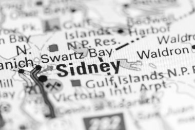 Sidney. Canada on a map.