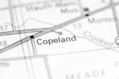 Copeland. Kansas. USA on a map