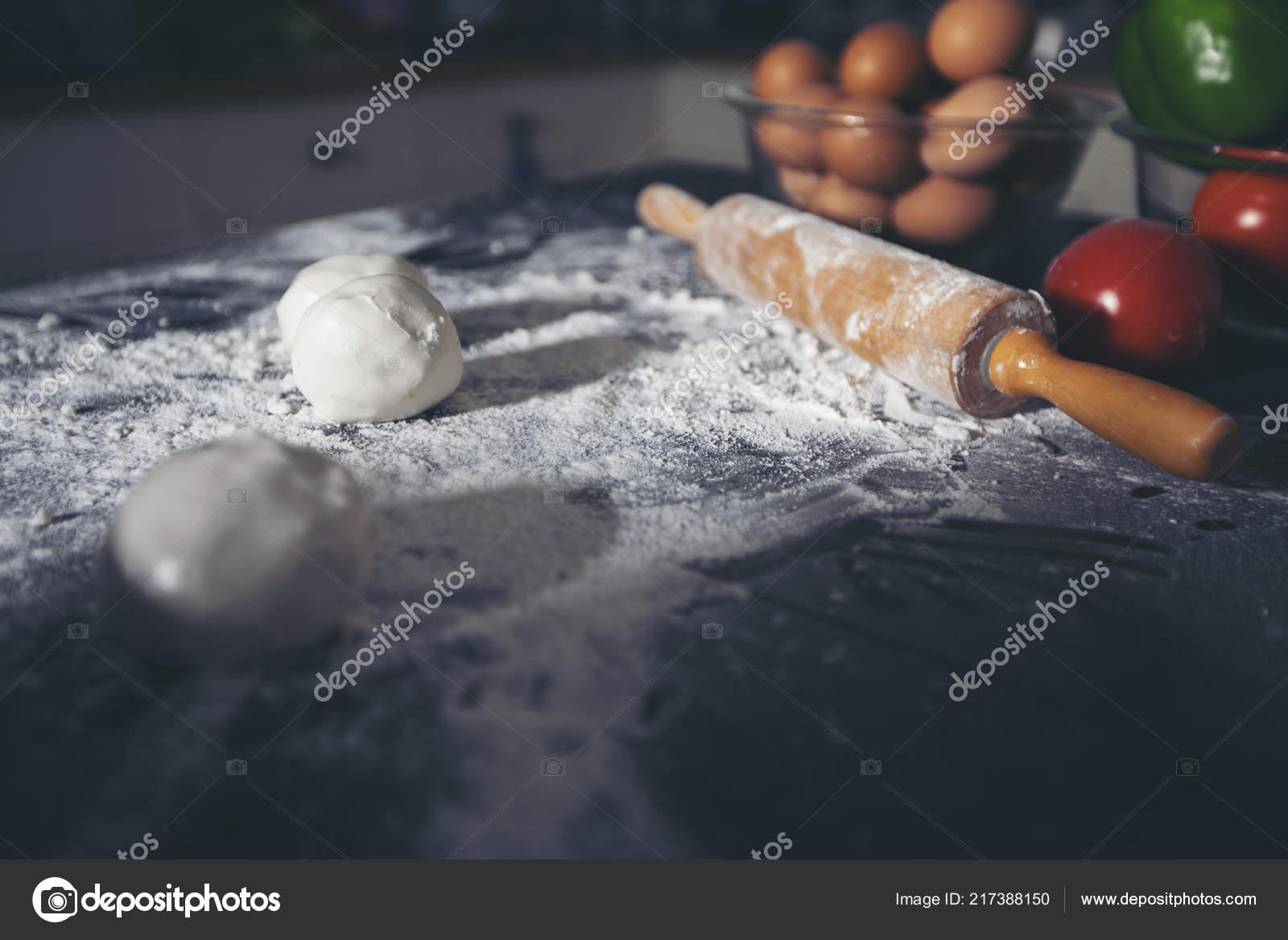 Asian Women Preparing Pizza Knead Dough Puts Ingredients ...