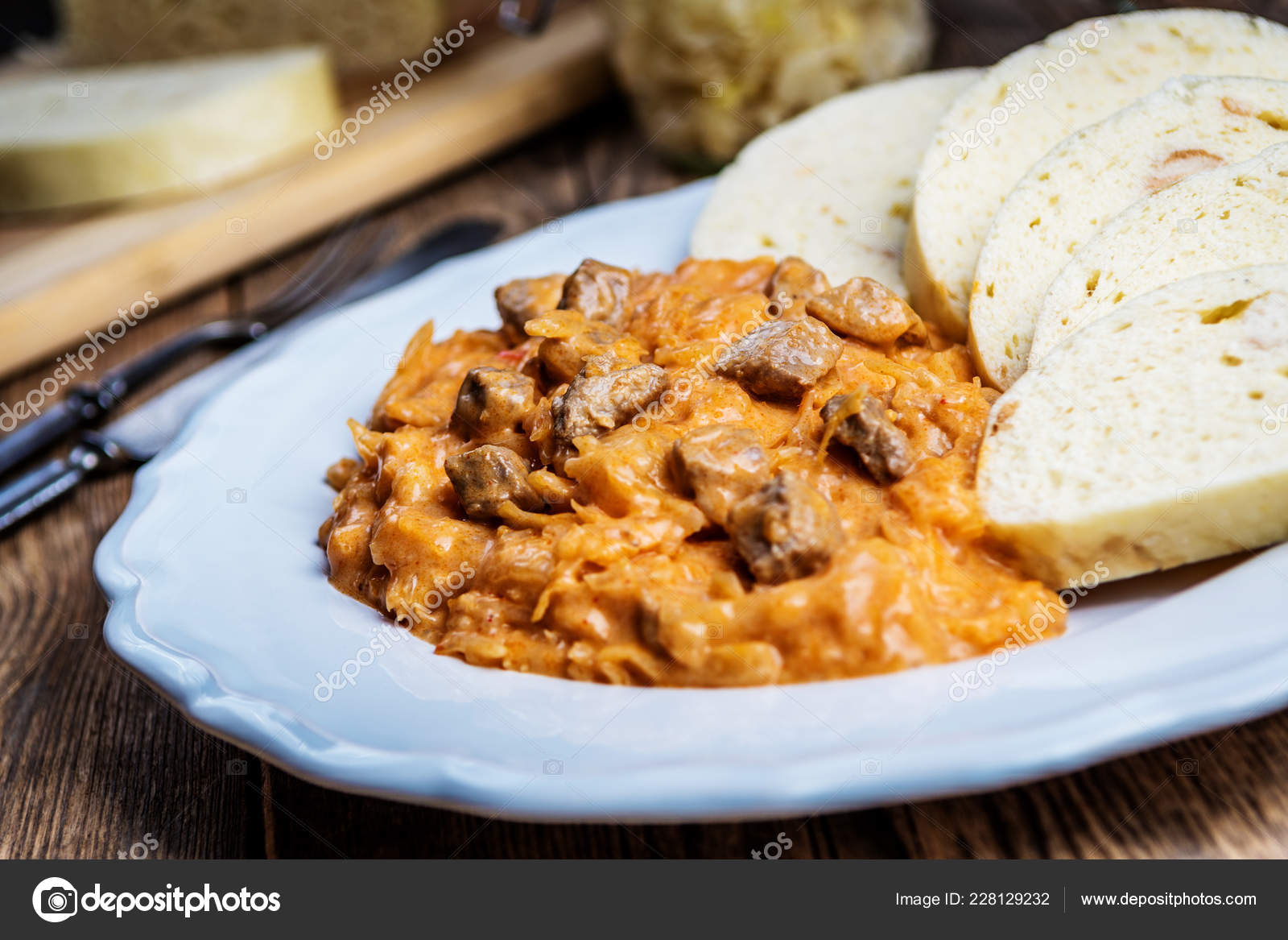 Traditional Hungarian Goulash Szeged Gulyasz Pork Pickled White Sauerkraut Dumplings Stock Photo Image By C Stockfotocz2 228129232
