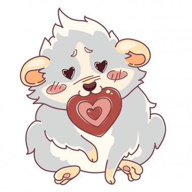 Cavy with hearts in the eyes sits with a card in the mouth - emoji love.