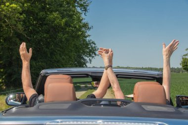 Two elderly people with a luxury convertible car