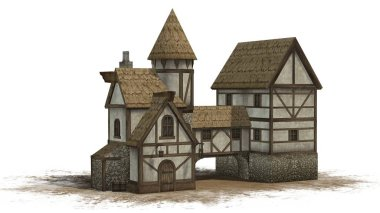 medieval taverne on sand area - isolated on white background