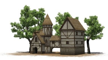 medieval taverne between trees on sand area - isolated on white background