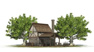 medieval forge between trees - back view - isolated on white background