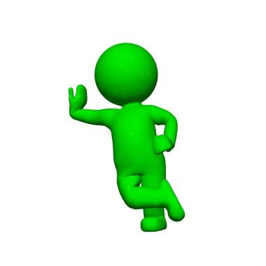 Green 3D People - Lean - isolated on white background