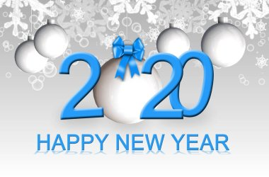 Happy New Year 2020 - greeting card - 3D illustration