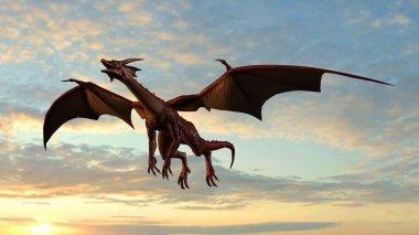 Flying dragon on sky background