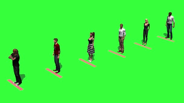 keep distance - people wait in a row with distance by a mark - green screen