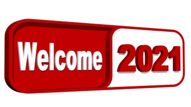 New Year 2021 - WELCOME lettering and year numbers on plate in red and white color - isolated on white background - 3D illustration