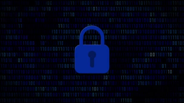 Internet Security concept - uzavřený visací zámek jako bezpečnostní symbol uprostřed pulzujících vln přes binární kódovou obrazovku - grafické prvky v modré barvě na černém pozadí