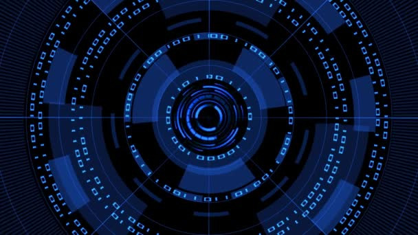 Abstract futuristic background of matrix style binary code built into HUD elements - 4K video - digital systems technology theme - cyber internet or network concept