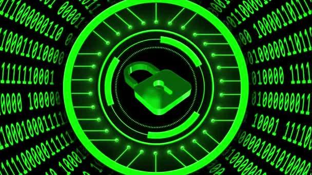 Abstraktní futuristické pozadí toku dat - rychlostní pohyb měnícího se binárního kódu ve tvaru válce - uzavřený visací zámek zabudovaný do rotačních prvků HUD - téma digitální systémové technologie - kybernetický internet nebo síťový koncept
