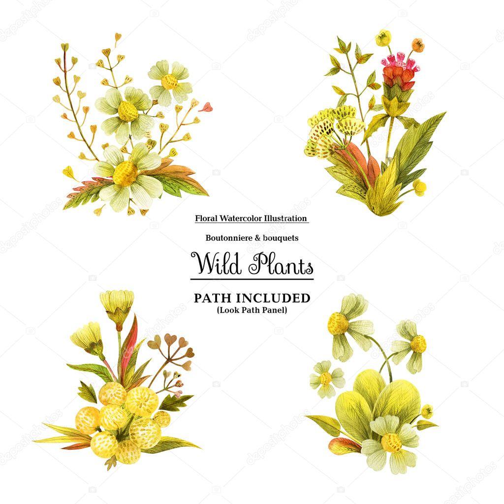 Yellow wild plants boutonniere