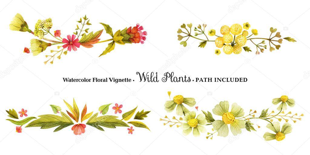 Yellow wild plants vignettes