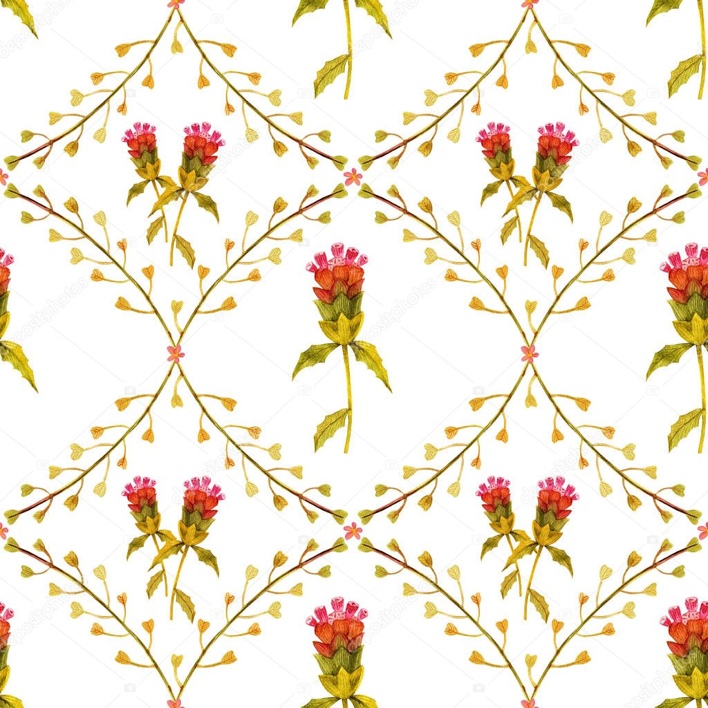 Yellow wild plants seamless pattern. Watercolor on a white backdrop, path included