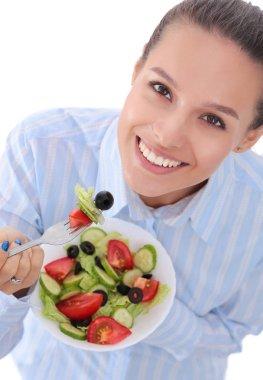 A beautiful girl eating healthy food. Beautiful girl. stock vector