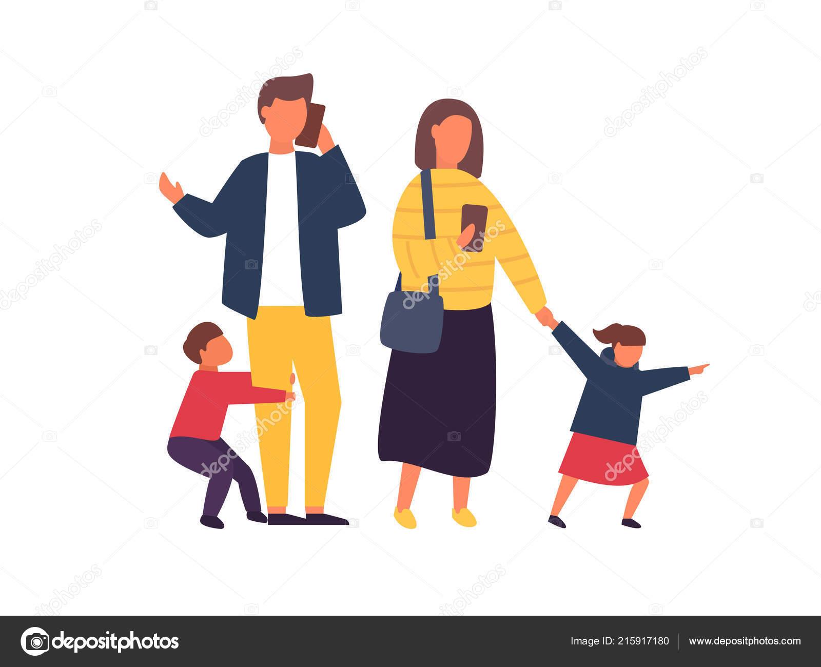 Druk Bezette Ouders Met Mobiele Smartphones Gezin Met Kinderen