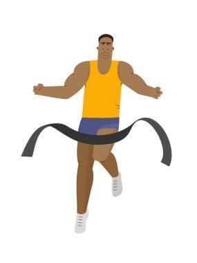 Runner winning a race marathon. Running sport vector illustration