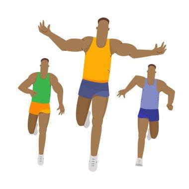 Marathon or sprint race. Sport running competition. Sport vector illustration.